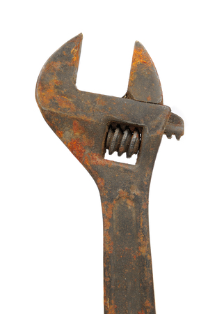 alligator wrench: Old Rusty Adjustable Wrench Spanner Isolated on White Background Stock Photo