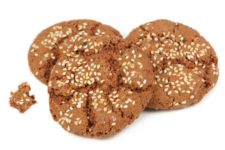 sesame seed: Sesame Seed Cookies Isolated on White Background