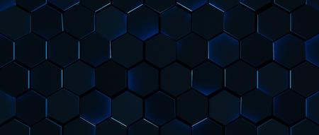 Dark Glowing Blue Hexagon Background