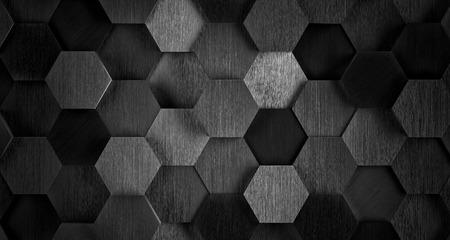 Dark Black and White Hexagonale Achtergrond van de Tegel - 3D illustratie Stockfoto