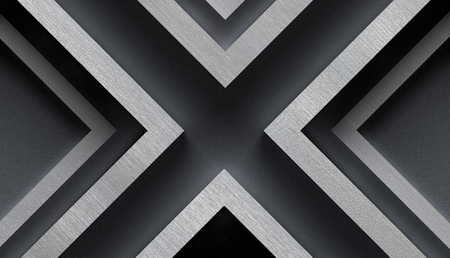invincible: Stylish Metal Background with X Shape - 3D Illustration
