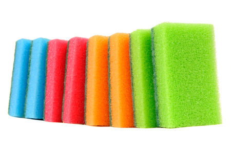 Multicolored Sponges Isolated on White Background Stock Photo