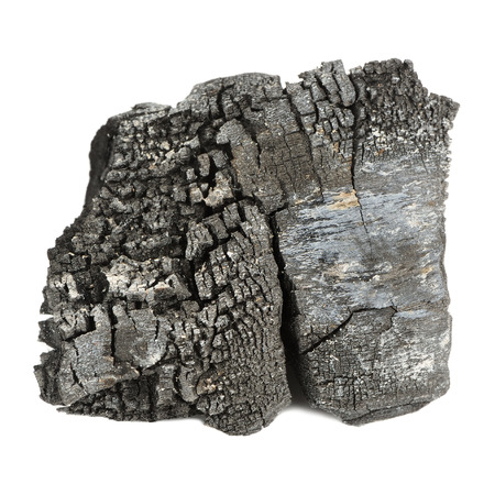 broil: Burnt Wood Charcoal Isolated on White Background
