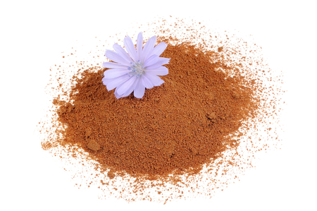 granule: Instant Chicory and Chicory Flower Isolated on White Background