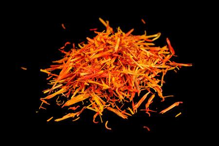 ersatz: Safflower (Substitute for Saffron) on Black Background Stock Photo