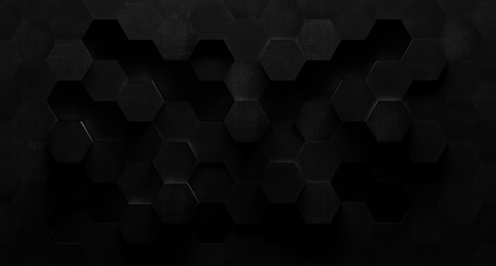 Extra Dark Black and White Hexagonal Tile Background Banque d'images