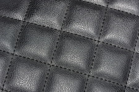 leatherette: Black Quilted Leather Background Stock Photo