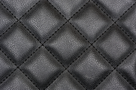 leatherette: Black Sharp Quilted Leather Texture