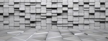 aluminum: A wide futuristic metal room - 3D illustration