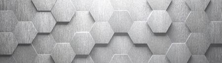 Fond de large hexagone en métal brossé (tête de site) (illustration 3d)