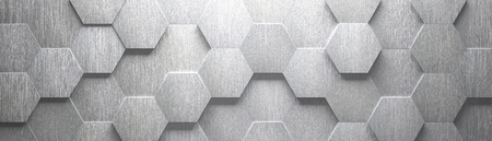 Wide Brushed Metal Hexagon Background (Site head) (3d illustration)