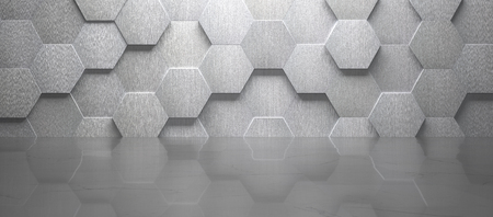 Creative empty room with hexagon-shaped tiled metal wall and marble floor (3d render)