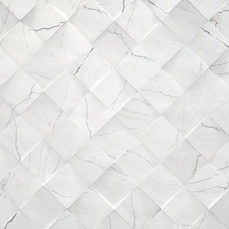 Tiled white marble background (3d illustration) Archivio Fotografico