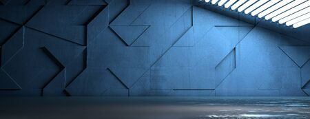 Stylish wide blue empty room with ceiling lights - 3D illustration 스톡 콘텐츠