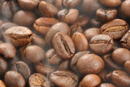 Steaming Roasted Coffee Beans Close Up Stock fotó