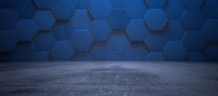 Dark blue interior with hexagonal tiled wall and concrete floor as background (3d illustration) Imagens
