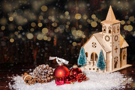 Rustic Winter Christmas Scene With Church And Gifts Stock Photo ...