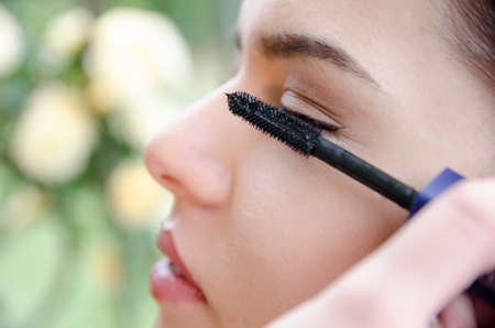 applied: Woman applied eyeliner by makeup artist, outside the garden. Makeup artist apply eyeliner on the clients eyes Stock Photo