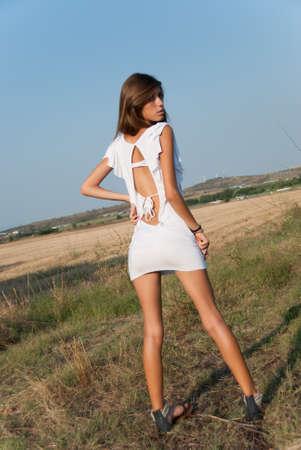 somewhere: Fashionable slim teen somewhere outside Stock Photo