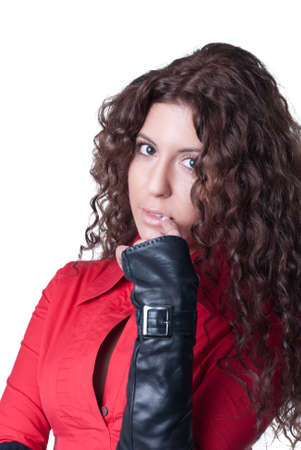 indecisive: Model posing with black gloves