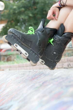 rollerskates: Young teen wear rollerskates