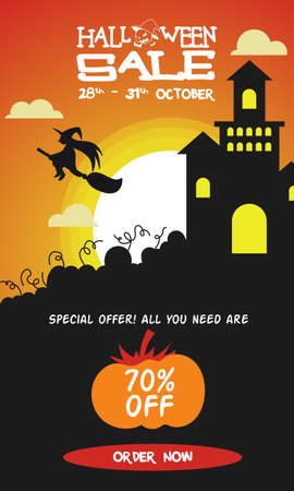 Witch and Castle Banner and brochure for upcoming halloween event for improve your sells and prospect