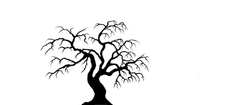 Black, spooky tree on white background Иллюстрация