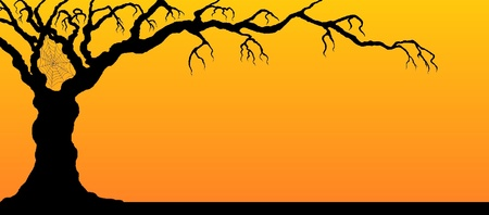 Tree silhouette on sunset background with spider web. Иллюстрация