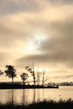 Natural sunrise over a lake in portrait photo