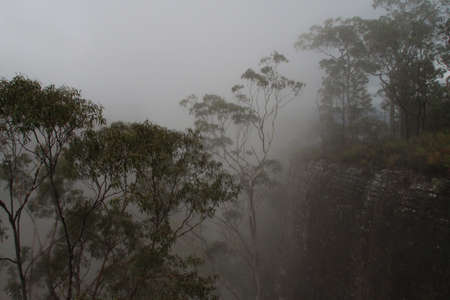 Cliff in the fog photo