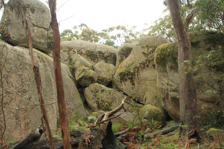 Boulders leaning on each other Stock Photo - 11594340