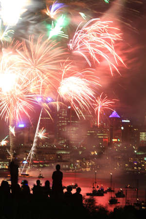 fire works: Fire works over harbor Stock Photo