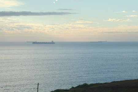 anchored: Ships anchored Stock Photo
