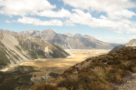 tramping: sunshine in the valley Stock Photo