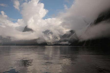 neroyfjord: Cloudy Milford Sound Stock Photo