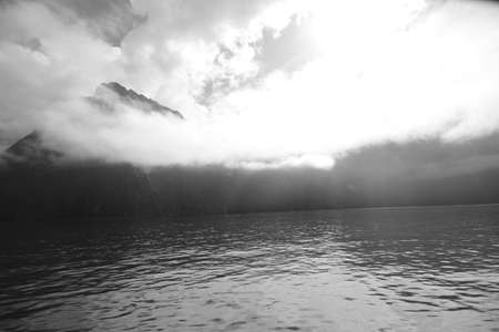 Monochrome fjord photo