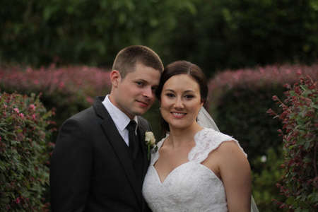 Bride and groom in the garden