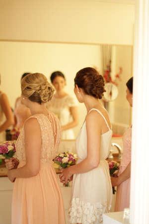 bridesmaids: Bridesmaids getting ready