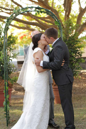 Just married kiss photo