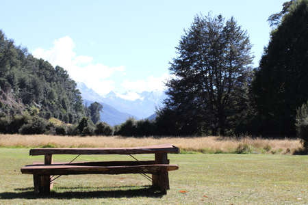 Wooden bench in the field