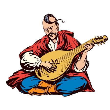 bard: Cossack playing a musical instrument kobza  Vector illustration