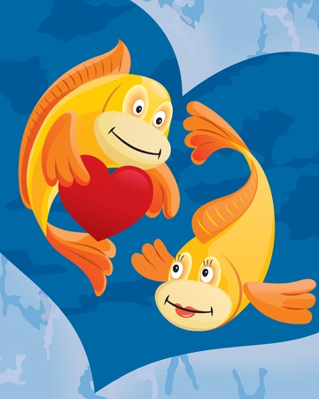 Couple of fishes cartoon  Vector illustration  Illustration