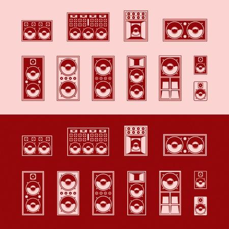 Set of speakers  Vector illustration