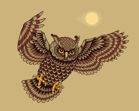 prey: Flying Owl Bird  Vector illustration  Illustration