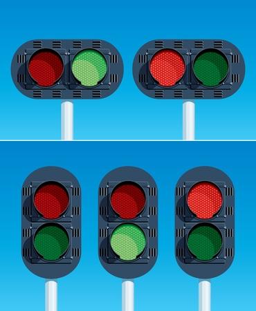 Railway Traffic Lights  Vector illustration