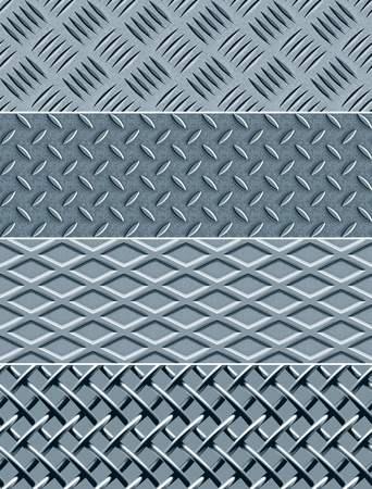 pisada: Cuatro texturas de metal sin costura, patrones de vectores Vectores