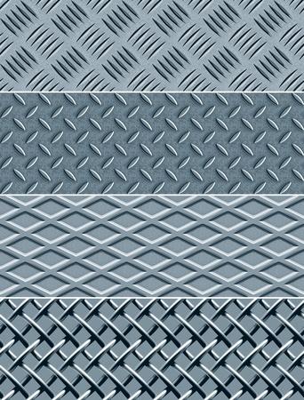 Vier metalen structuren, naadloze vector patronen