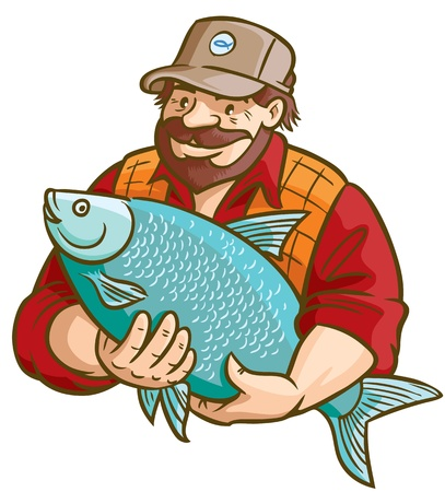 pescador: Pescador Con ilustraci�n vectorial de pescado