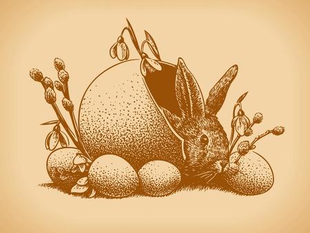 Easter Bunny Vintage Style Иллюстрация