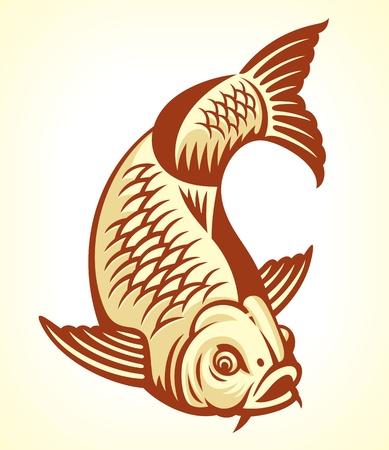 carp fishing: Carp Pesce Cartoon vettore